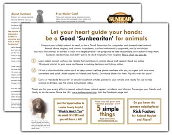 Letterfold brochure about Sunbear Squad and Sunbear
